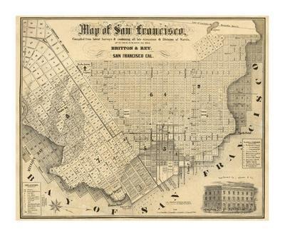 graphic about Printable Map of San Francisco identified as Map of San Francisco, c.1852 Artwork Print through Britton Rey