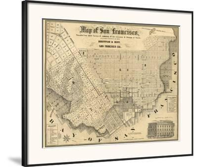 photo about Printable Map of San Francisco identified as Map of San Francisco, c.1852 Framed Artwork Print by means of Britton Rey