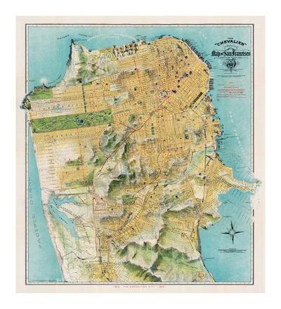 photo relating to Printable Maps of San Francisco called Map of San Francisco, California, 1912 Giclee Print as a result of August Chevalier