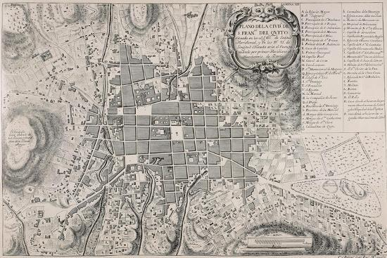 Map of San Francisco de Quito, 18th Century-Antonio Ulloa-Giclee Print