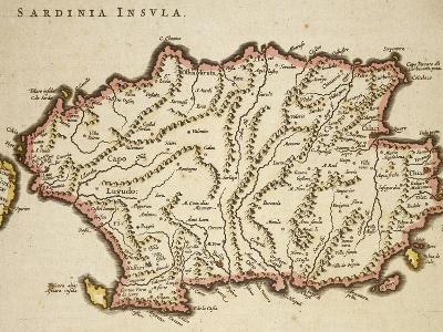 Map of Sardinia Region, by Joan Blaeu--Giclee Print