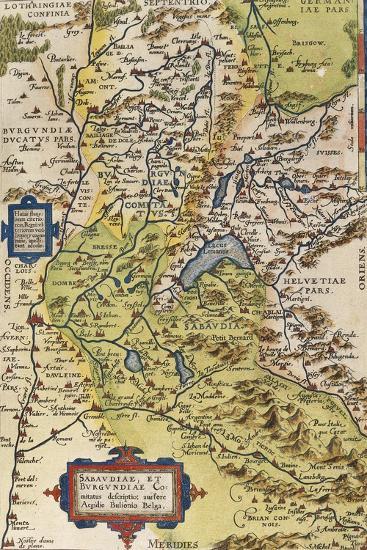Map of Savoie, from Theatrum Orbis Terrarum, 1528-1598, Antwerp, 1570--Giclee Print