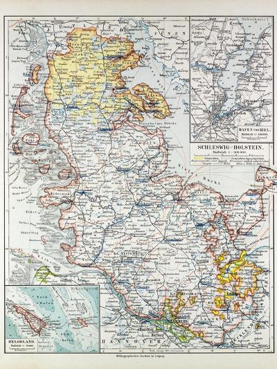 Map of Schleswig-Holstein Germany 1899--Giclee Print