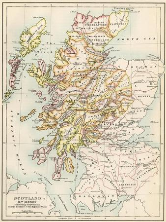 image relating to Printable Map of Scotland named Map of Scotland within the 1520s, Demonstrating Territories of the Highland Clans Giclee Print via