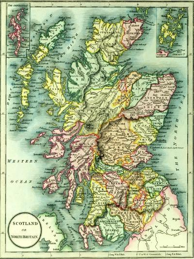 Map of Scotland or North Britain, 1852, from J.Purdy's Atlas--Giclee Print
