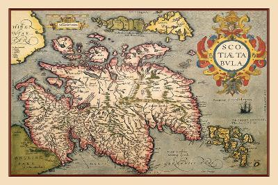 Map of Scotland-Abraham Ortelius-Stretched Canvas Print