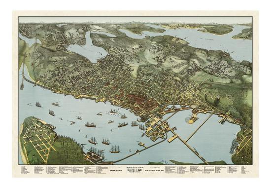 Map of Seattle, Washington, 1891 Art Print by A. Koch | Art.com