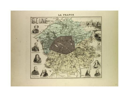 Map of Seine 1896, France--Giclee Print
