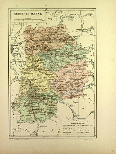 Map of Seine-Et-Marne France--Giclee Print