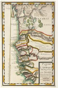 Map of Senegal, Mauritania and Gambia, 1729