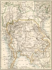 Map of Siam and the Independent Shan States, 1870s