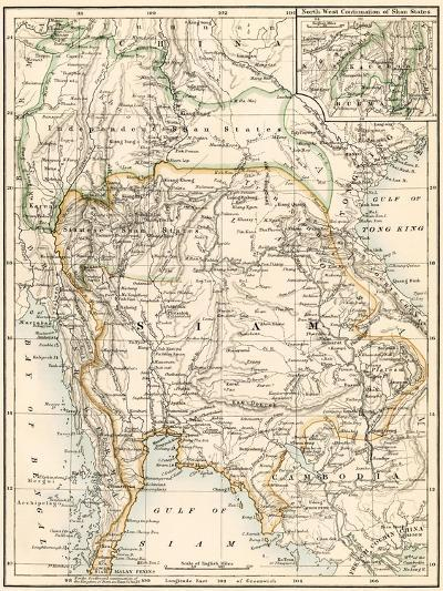 Map of Siam and the Independent Shan States, 1870s--Giclee Print