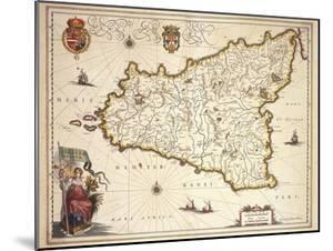 Map of Sicily Region, by Joan Blaeu
