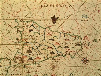 Map of Sicily Region, Detail from Portolan Chart--Giclee Print