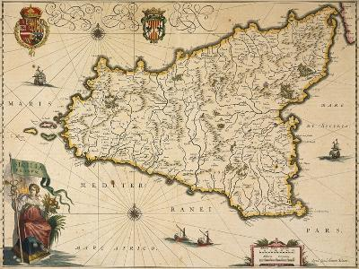 Map of Sicily-Willem Janszoon Blaeu-Giclee Print