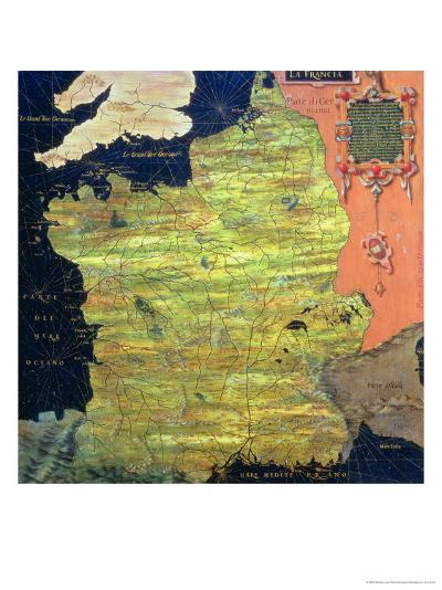 """Map of Sixteenth Century France, from the """"Sala Delle Carte Geografiche""""-Stefano And Danti Bonsignori-Giclee Print"""