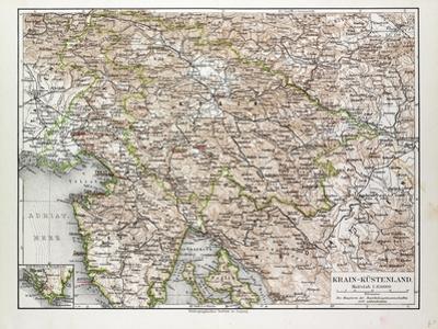 Map of Slovenia and Croatia, 1899