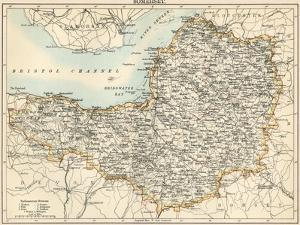 Map of Somerset, England, 1870s
