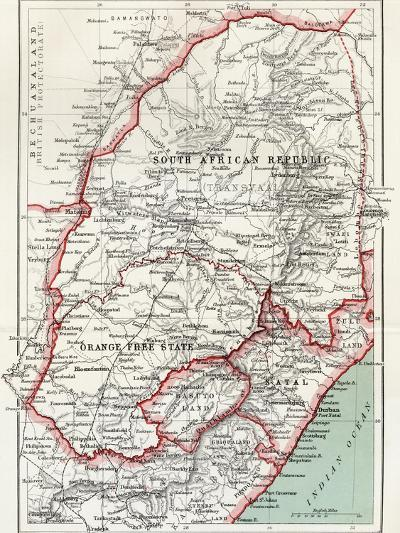 Map of South African Republic, Orange Free State and Natal C.1900-Louis Creswicke-Giclee Print