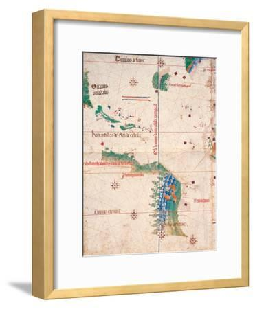 Map of South America and the Coastline of Brazil with parrots, 1502, Estense Library,Modena, Italy
