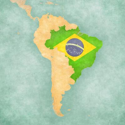 Map Of South America - Brazil (Vintage Series)-Tindo-Art Print