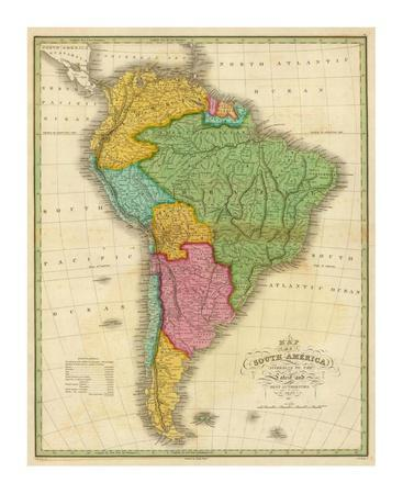 graphic about Printable Map of South America referred to as Map of South The united states, c.1826 Artwork Print by way of Anthony Finley