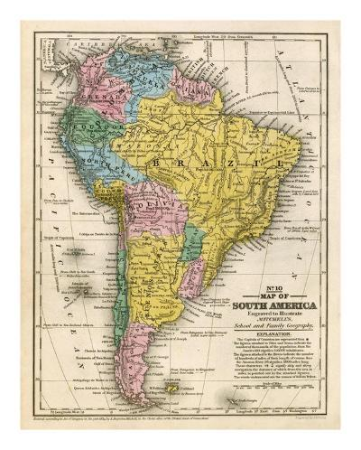 Map of South America, c.1839-Samuel Augustus Mitchell-Art Print