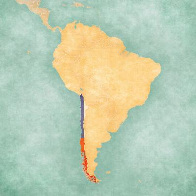 Map of South America - Chile (Vintage Series)-Tindo-Art Print