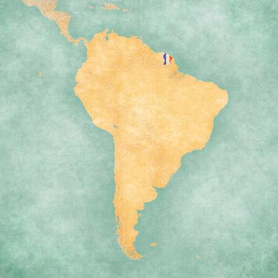 Map of South America - French Guiana (Vintage Series)-Tindo-Art Print