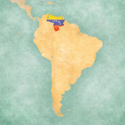 Map of South America - Venezuela (Vintage Series)-Tindo-Art Print