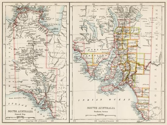 Map of South Austrailia, 1870s--Giclee Print