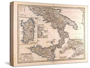 Map of South Italy, 1872