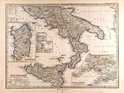 Map of South Italy, 1872--Giclee Print