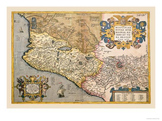 Map of South Western America and Mexico Art Print by Abraham Ortelius |  Art.com