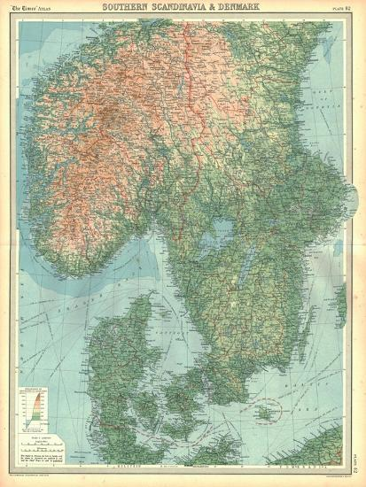 Map of Southern Scandinavia and Denmark-Unknown-Giclee Print