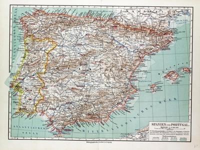 graphic relating to Printable Maps of Spain known as Map of Spain and Portugal 1899 Giclee Print through