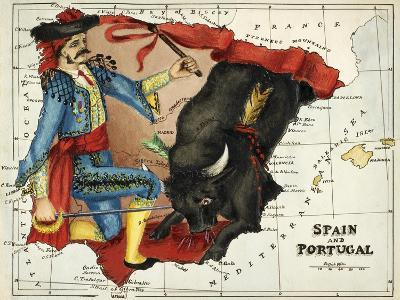 Map Of Spain and Portugal Represented As a Matador and Bull-Lilian Lancaster-Giclee Print