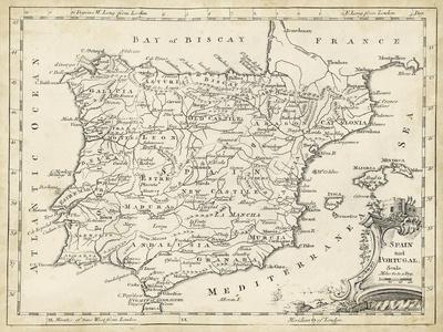 photograph regarding Printable Maps of Spain called Map of Spain Artwork Print via T. Jeffreys