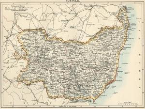 Map of Suffolk, England, 1870s