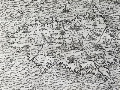 Map of Sumatra, Engraving-Andre Thevet-Giclee Print