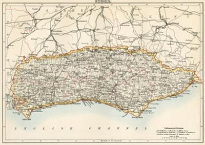 Map of Sussex, England, 1870s