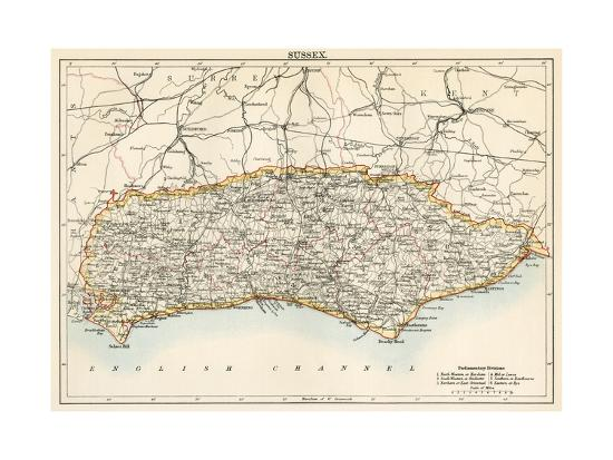 Map of Sussex, England, 1870s--Giclee Print