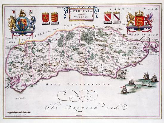 Map of Sussex--Giclee Print