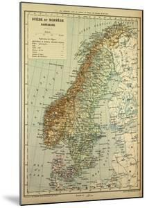 Map of Sweden Denmark and Norway