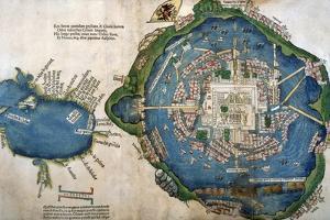 Map of Tenochtitlan and the Gulf of Mexico, from 'Praeclara Ferdinadi Cortesii De Nova Maris…
