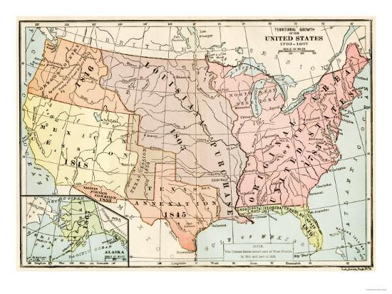 Map of Territorial Growth of the United States from 1783-1867 Giclee ...