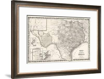 Map of Texas-Bill Cannon-Framed Giclee Print