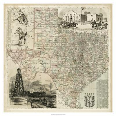 Map of Texas--Art Print