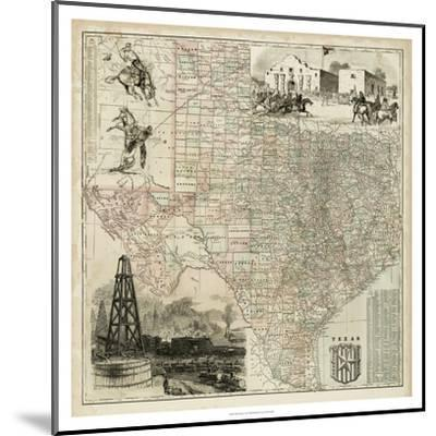 Map of Texas--Mounted Art Print