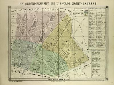 Map of the 10th Arrondissement De L'Enclos Saint-Laurent Paris France--Giclee Print